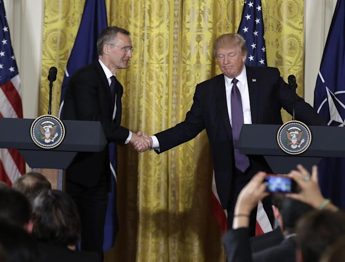 President Trump with NATO Secretary General Jens Stoltenberg during a news conference at the White House in April. (Photo: Evan Vucci/AP)