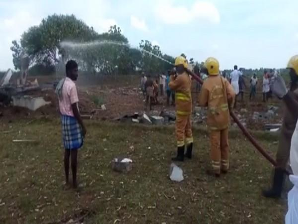 A visual from the spot of the fire accident in Tamil Nadu's Cuddalore district. (Photo/ANI)