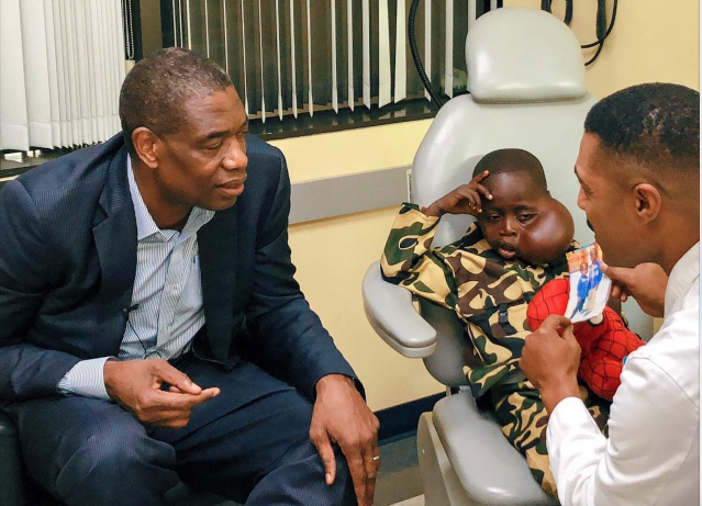 Matadi Sela Petit, the 8-year-old boy that Dikembe Mutombo helped travel to the United States from the Democratic Republic of Congo to have a tumor removed from his face, died on Friday. (Instagram/@dofficialmutombo)