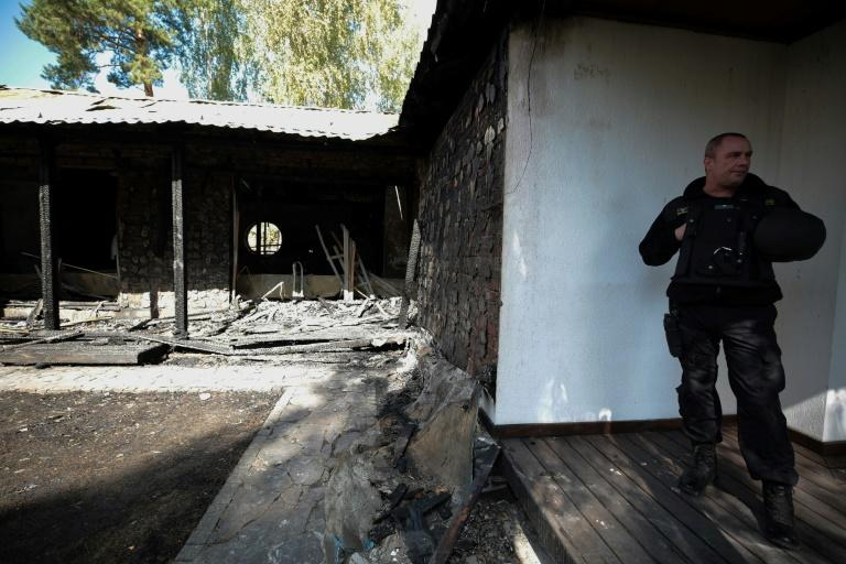Valeria Gontareva said her country home in a village north of Kiev burnt to the ground after being struck with a Molotov cocktail (AFP Photo/STRINGER)