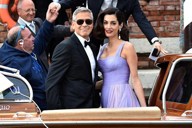 George Clooney and Amal Clooney depart their hotel during Italy's Venice Film Festival on September 2, 2017. (Photo: Jacopo Raule/GC Images,)