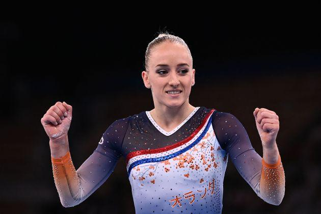 Netherlands' Lieke Wevers celebrates after competing in the artistic gymnastics balance beam event of the women's qualification during the Tokyo 2020 Olympic Games at the Ariake Gymnastics Centre in Tokyo on July 25, 2021. (Photo by Loic VENANCE / AFP) (Photo by LOIC VENANCE/AFP via Getty Images) (Photo: LOIC VENANCE via AFP via Getty Images)