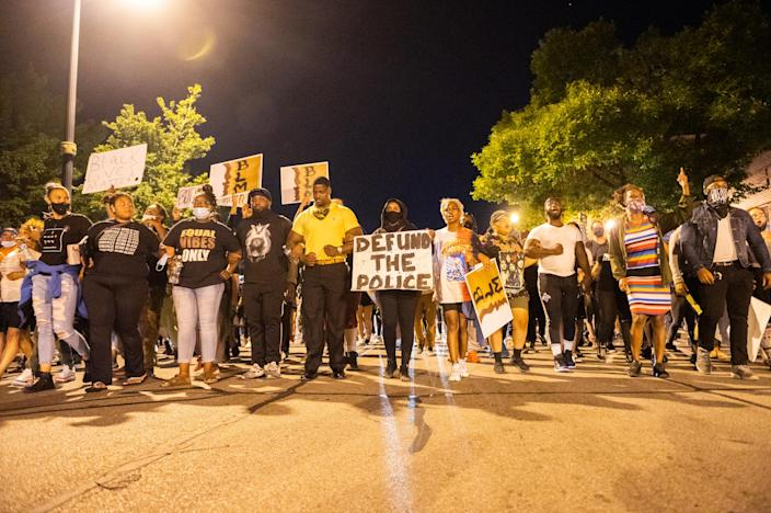 Activists in Rochester, New York, US, on September 3, 2020 protest after the death of Daniel Prude who died earlier this year as new information comes out about his death at the hands of police. (Zach D Roberts/NurPhoto via Getty Images)