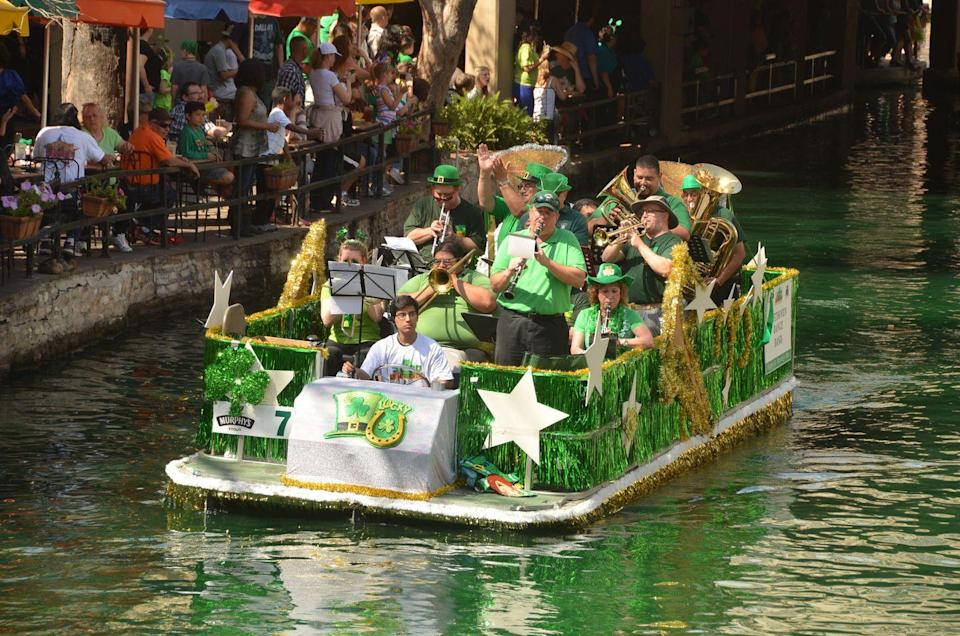 """<p>Enjoy Celtic dancers, authentic Irish food, and even a tater tot eating contest at San Antonio's green-themed event. Make sure to be there by 1 p.m. to watch the <a href=""""https://www.thesanantonioriverwalk.com/events/dyeing-of-the-river-walk-green"""" rel=""""nofollow noopener"""" target=""""_blank"""" data-ylk=""""slk:River Walk get dyed"""" class=""""link rapid-noclick-resp"""">River Walk get dyed</a> green!</p>"""