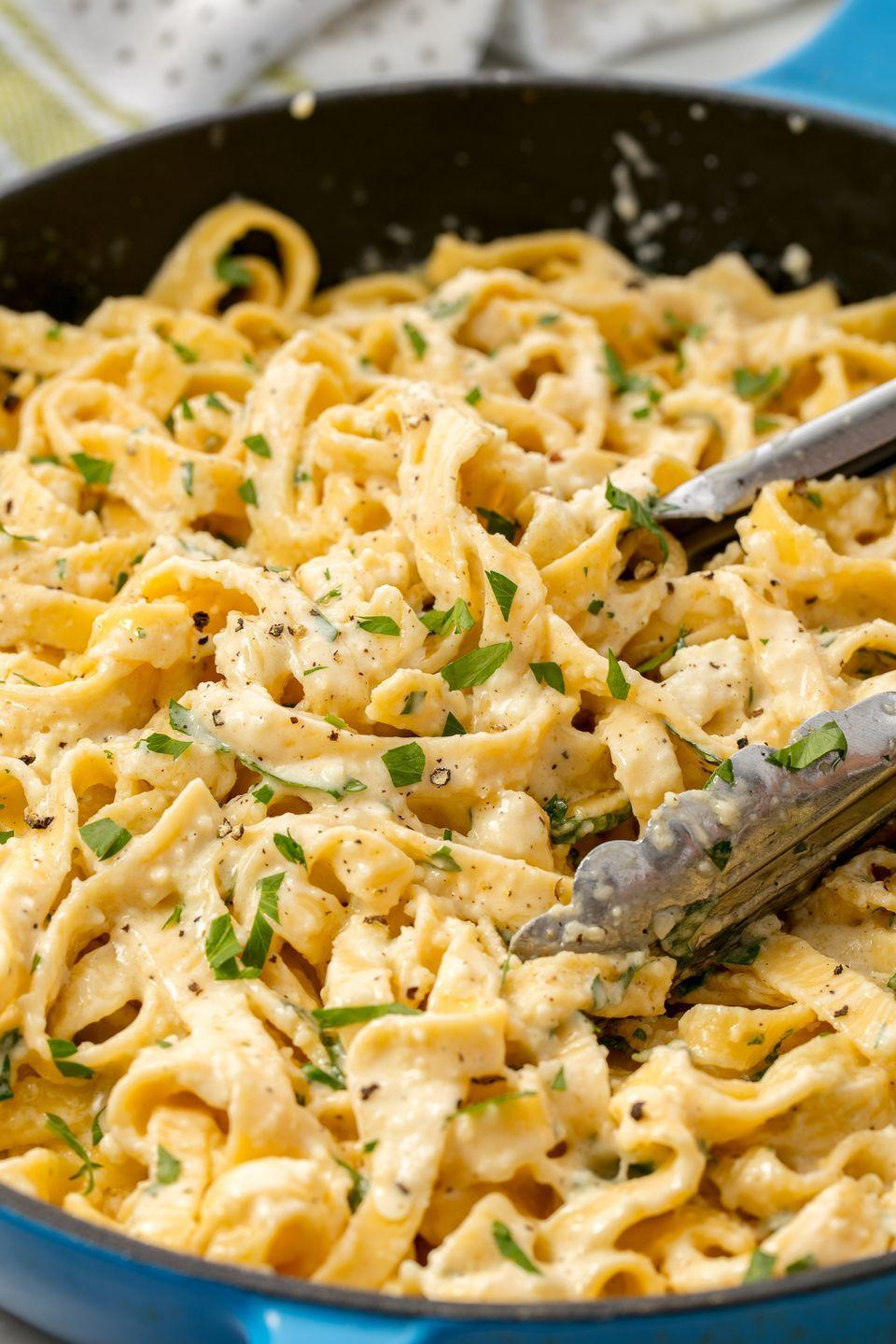 "<p>A staple recipe that you should know like the back of your hand.</p><p>Get the recipe from <a href=""https://www.delish.com/cooking/recipe-ideas/recipes/a55312/best-homemade-fettuccine-alfredo-recipe/"" rel=""nofollow noopener"" target=""_blank"" data-ylk=""slk:Delish"" class=""link rapid-noclick-resp"">Delish</a>.</p>"