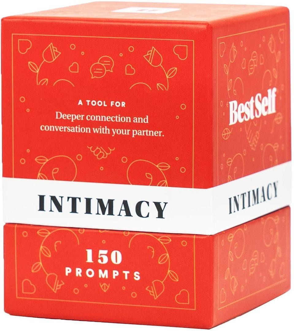 """<h3>BestSelf Co. Intimacy Deck</h3><br>Whether you're newly dating or in a long-term relationship, this conversation-starting card game poses intimate questions across categories like """"Life,"""" """"Relationship,"""" """"About You,"""" and a wild card """"Random"""" section.<br><br><strong>BestSelf Co.</strong> Intimacy Deck, $, available at <a href=""""https://amzn.to/3oHztYx"""" rel=""""nofollow noopener"""" target=""""_blank"""" data-ylk=""""slk:Amazon"""" class=""""link rapid-noclick-resp"""">Amazon</a>"""