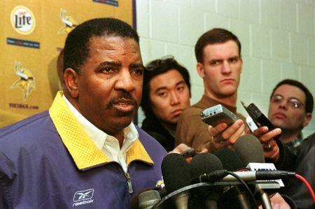 File photo: Minnesota Vikings coach Dennis Green announces he is no longer head coach of the team effective immediately at a brief press conference in the weight room of the team's practice facility, Winter Park, in Bloomington, Minnesota, January 4, 2002. REUTERS/Eric Miller