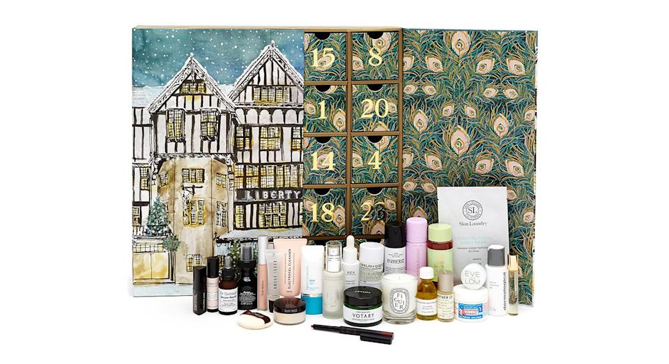 """<p>Following its success last year, Liberty London has launched a beauty advent calendar for 2018 and it's a sure-fire winner. Behind its 25 doors is a selection of favourites from luxury brands including Diptyque, Byredo and Hourglass. Available from <a rel=""""nofollow noopener"""" href=""""https://www.libertylondon.com/"""" target=""""_blank"""" data-ylk=""""slk:October 24"""" class=""""link rapid-noclick-resp"""">October 24</a>. </p>"""