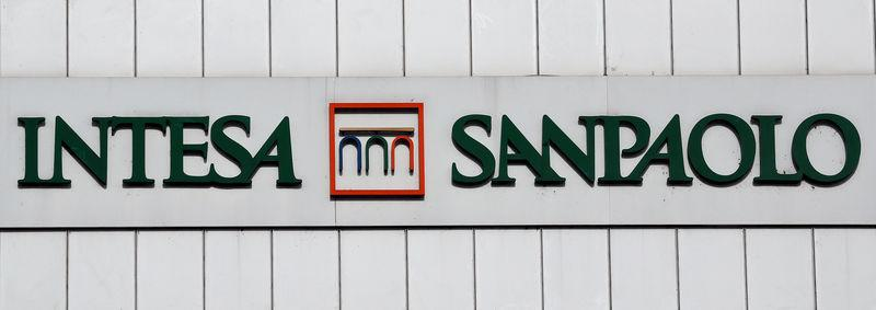 FILE PHOTO: Intesa San Paolo bank logo is seen at the headquater in Turin