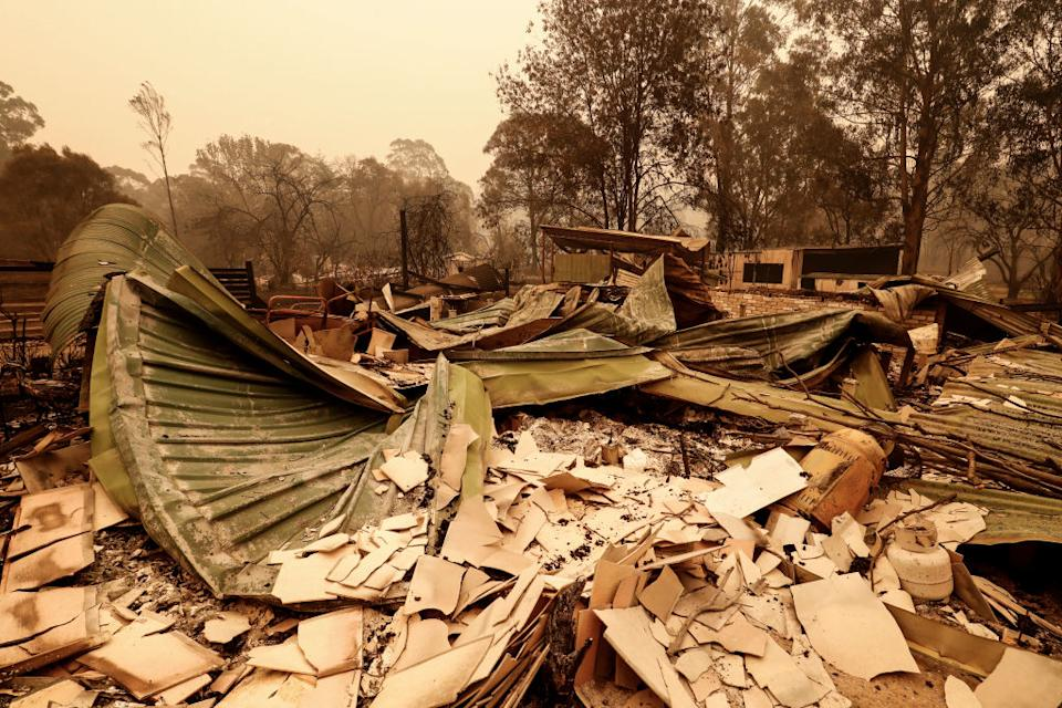 A destroyed property in the coastal town of Mallacoota which has been evacuated as the fire danger worsens. Source: Getty