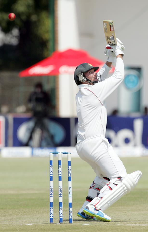 Zimbabwe captain Brendan Taylor bats during the first day of the second test match between Pakistan and hosts Zimbabwe at the Harare Sports Club on September 10, 2013. AFP PHOTO / JEKESAI NJIKIZANA        (Photo credit should read JEKESAI NJIKIZANA/AFP/Getty Images)