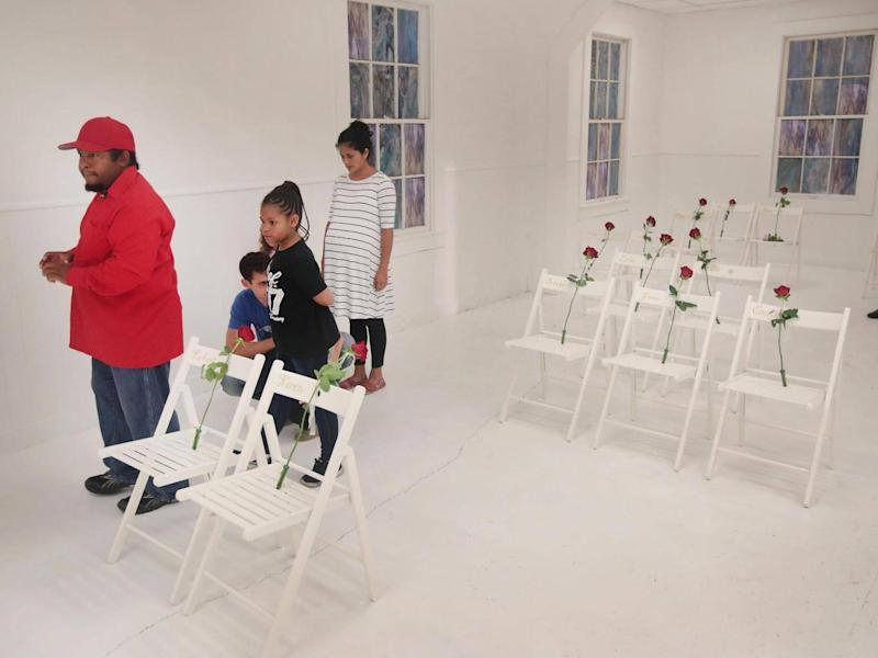 Visitors tour the First Baptist Church of Sutherland Springs (Getty Images)
