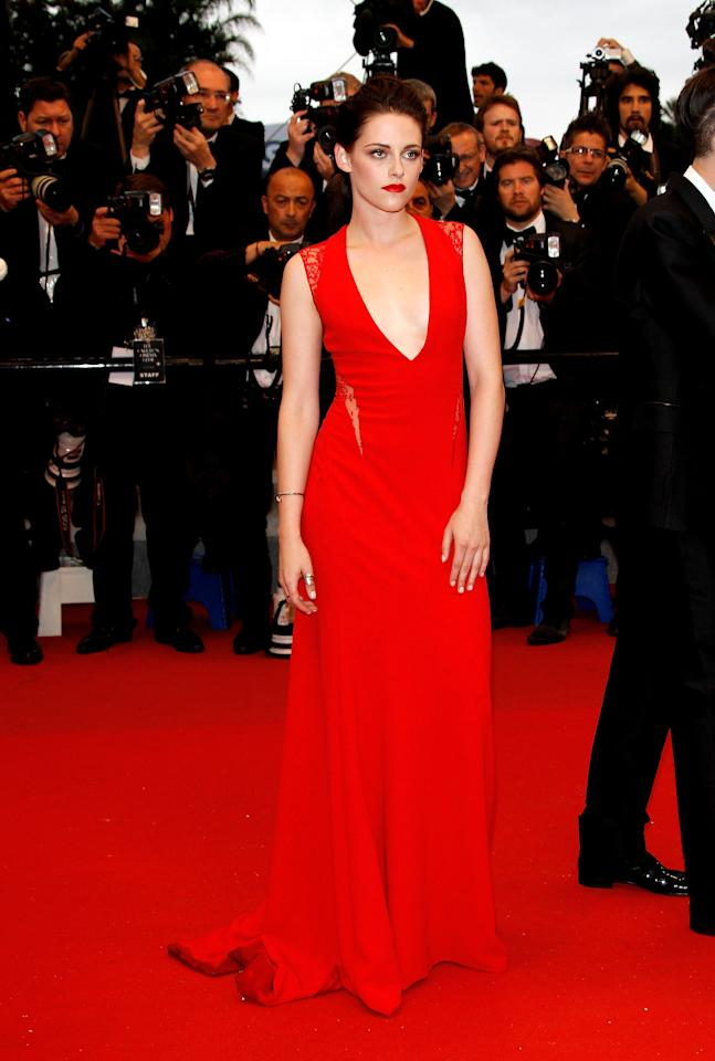 "CANNES, FRANCE - MAY 25:  Actress Kristen Stewart attends the ""Cosmopolis"" premiere during the 65th Annual Cannes Film Festival at Palais des Festivals on May 25, 2012 in Cannes, France.  (Photo by Andreas Rentz/Getty Images)"