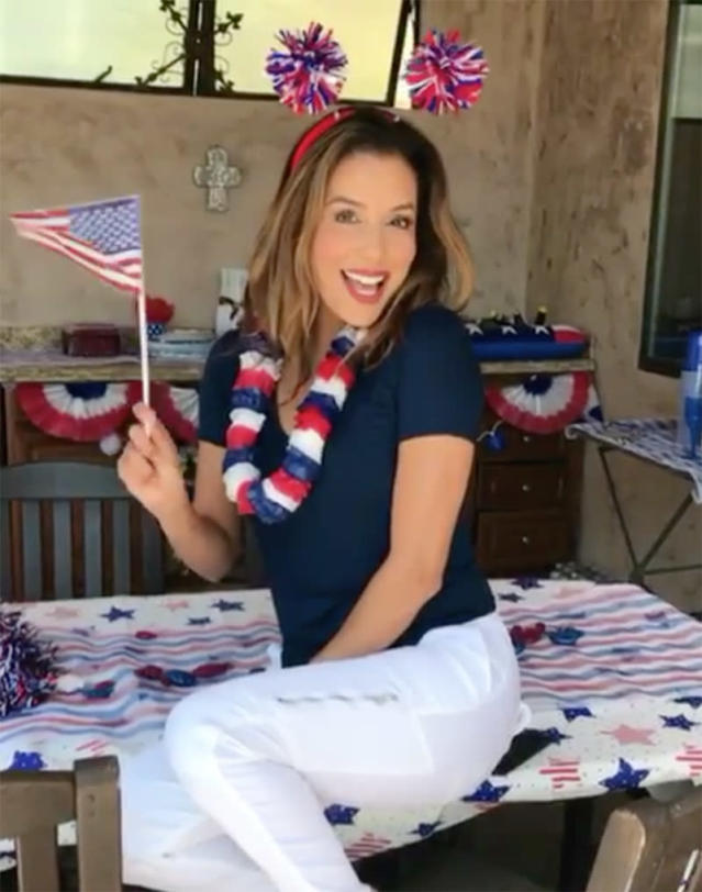 "<p>Someone as stylish as Eva Longoria isn't going to let the Fourth of July pass without going red, white, and blue. ""Happy 4th of July y'all! #4th,"" she posted. (Photo: <a href=""https://www.instagram.com/p/BWIlsWSAu35/?taken-by=evalongoria"" rel=""nofollow noopener"" target=""_blank"" data-ylk=""slk:Eva Longoria via Instagram"" class=""link rapid-noclick-resp"">Eva Longoria via Instagram</a>)<br><br></p>"