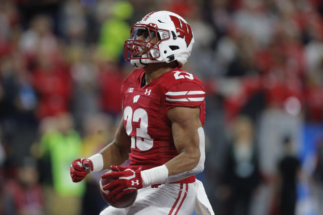 Wisconsin RB Jonathan Taylor would add another dimension to the Houston Texans. (Photo by Jeffrey Brown/Icon Sportswire via Getty Images)