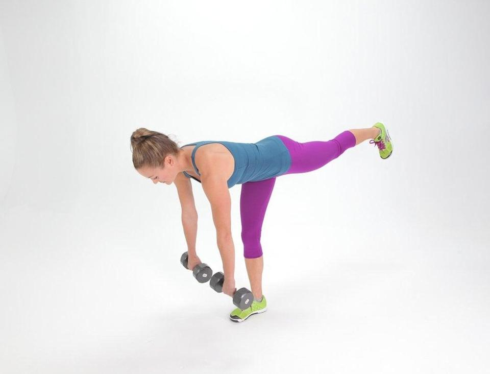 <ul> <li>Hold a dumbbell in each hand (or a kettlebell in both) and lift your left foot slightly off the ground.</li> <li>Keep your back flat and bend at your hips while raising your left leg, which should stay in line with your body. The dumbbells will lower toward the ground.</li> <li>With your back straight, return upright, coming to your starting position. This completes one rep. Make this move harder by keeping your left foot off the ground as you go through your reps.</li> <li>Continue alternating between right and left sides for 40 seconds, then take 20 seconds of rest.</li> </ul>