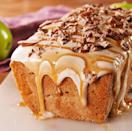 """<p>We know it seems like loaf cakes take forever to bake. It may seem tempting to pull it out sooner, but because there are so many delicious apples in the batter, it takes awhile for all that excess moisture to cook out. We LOVE how chock-full of fruit this cake is, but if you're after a shorter cook time, reduce the amount of apples by half. </p><p>Get the <a href=""""https://www.delish.com/uk/cooking/recipes/a28924258/caramel-apple-pound-cake-recipe/"""" rel=""""nofollow noopener"""" target=""""_blank"""" data-ylk=""""slk:Caramel Apple Cake"""" class=""""link rapid-noclick-resp"""">Caramel Apple Cake</a> recipe.</p>"""