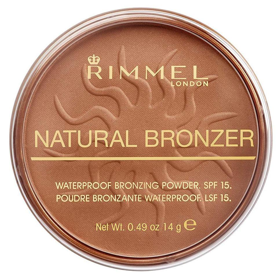 "<p><strong>Rimmel</strong></p><p>amazon.com</p><p><strong>$3.97</strong></p><p><a href=""https://www.amazon.com/dp/B001B0H82Q?tag=syn-yahoo-20&ascsubtag=%5Bartid%7C2089.g.33807456%5Bsrc%7Cyahoo-us"" rel=""nofollow noopener"" target=""_blank"" data-ylk=""slk:Shop Now"" class=""link rapid-noclick-resp"">Shop Now</a></p><p>Fun fact: The best beauty products aren't <em>just </em>in the department store. The aisles of your drugstore have hidden treasures that will instantly elevate your vanity on a budget. </p><p>Exhibit A is this bronzer. It has a natural finish with a no-bs formula that won't budge or fade (even in water!), and is infused with broad-spectrum SPF 15 to protect your delicate skin from harmful sun rays. </p><p>Plus, this bronzer won't leave a barely-there look or ashy finish on your complexion, and it's under $5 — a win-win!</p>"