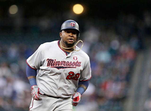 "<a class=""link rapid-noclick-resp"" href=""/mlb/teams/minnesota/"" data-ylk=""slk:Minnesota Twins"">Minnesota Twins</a> slugger <a class=""link rapid-noclick-resp"" href=""/mlb/players/9110/"" data-ylk=""slk:Miguel Sano"">Miguel Sano</a> can provide any fantasy player looking for power with a boost. (AP Photo/John Froschauer)"