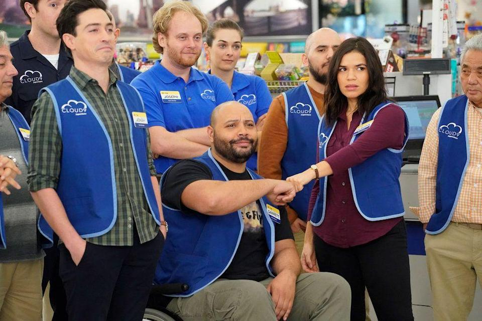 """<p>Trust us, you'll never look at your local big-box store the same way after watching <em>Superstore</em>. America Ferrera stars as Amy in the NBC comedy that's based on the <a href=""""https://www.bbc.co.uk/programmes/p00h6xc3"""" rel=""""nofollow noopener"""" target=""""_blank"""" data-ylk=""""slk:British series"""" class=""""link rapid-noclick-resp"""">British series</a> of the same name. The show follows Ferrera and her fellow retail misfits at a Missouri megastore called Cloud 9. They're tasked with helping shoppers find bargains, but it's impossible not to crack a smile as you watch them fight to keep their jobs amid all the shenanigans and cleanups on aisle three. </p><p><a class=""""link rapid-noclick-resp"""" href=""""https://www.amazon.com/Back-to-School/dp/B07H91C3LJ/?tag=syn-yahoo-20&ascsubtag=%5Bartid%7C10063.g.37608731%5Bsrc%7Cyahoo-us"""" rel=""""nofollow noopener"""" target=""""_blank"""" data-ylk=""""slk:Watch Now"""">Watch Now</a></p>"""