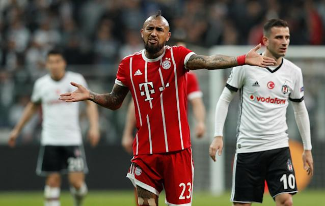 Soccer Football - Champions League Round of 16 Second Leg - Besiktas vs Bayern Munich - Vodafone Arena, Istanbul, Turkey - March 14, 2018 Bayern Munich's Arturo Vidal reacts REUTERS/Murad Sezer