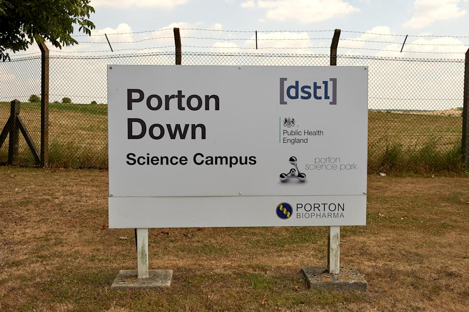 Signage of Porton Down, the science park housing the Ministry of Defence's (MOD) Defence Science and Technology Laboratory, is pictured in the village of Porton, near Salisbury on July 8, 2018. (Photo by NIKLAS HALLE'N / AFP)        (Photo credit should read NIKLAS HALLE'N/AFP via Getty Images)