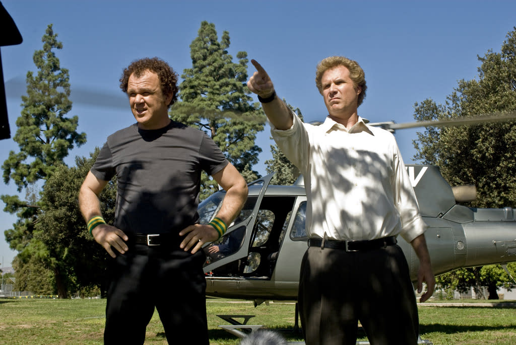 """<a href=""""http://movies.yahoo.com/movie/contributor/1800019213"""">John C. Reilly</a> and <a href=""""http://movies.yahoo.com/movie/contributor/1800019430"""">Will Ferrell</a> in Sony Pictures' <a href=""""http://movies.yahoo.com/movie/1809931500/info"""">Step Brothers</a> - 2008"""