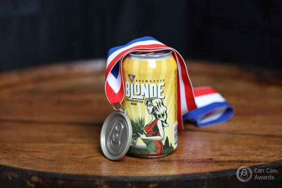 A can of BJ's Blonde Ale with a medal around it