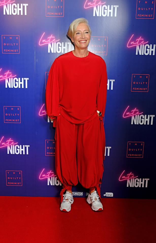 Proving she's down with the London street style set, actress Emma Thompson wore a slouchy co-ord with chunky 'dad' trainers to the starry premiere. [Photo: Getty]