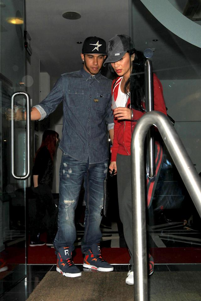 What's new Pussycat? Hamilton and Pussycat Doll Nicole Scherzinger at a Battersea studio in 2012