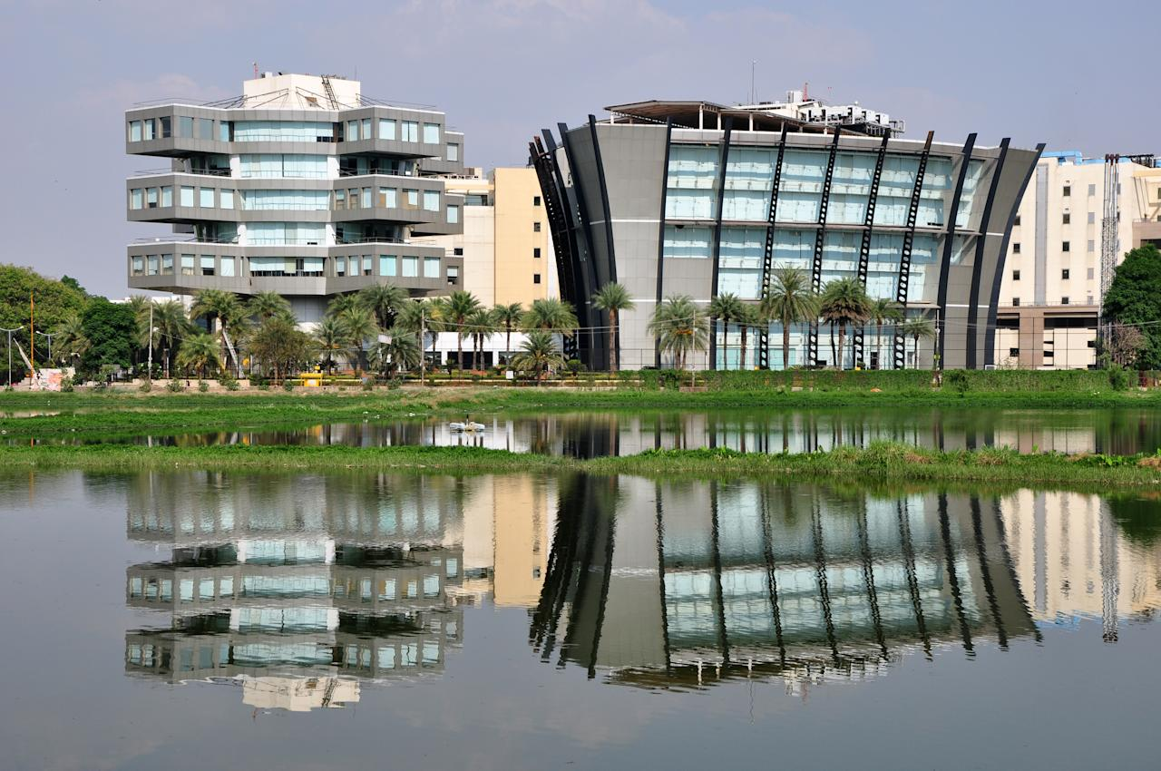 Bagmane Tech Park in Bangalore, India, stands silent and still.