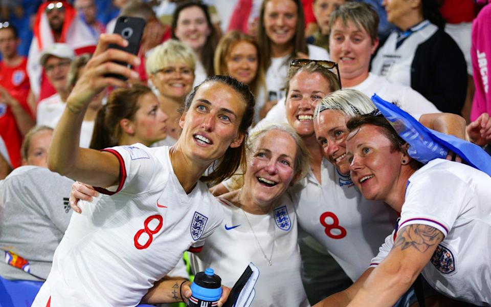 Jill Scott of England takes a selfie with friends and family after the 2019 FIFA Women's World Cup France Quarter Final match between Norway and England on June 27, 2019 in Le Havre, France - Getty Images