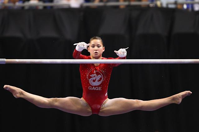 ST. LOUIS, MO - JUNE 8: Sarah Finnegan competes on the uneven bars during the Senior Women's competition on day two of the Visa Championships at Chaifetz Arena on June 8, 2012 in St. Louis, Missouri. (Photo by Dilip Vishwanat/Getty Images)