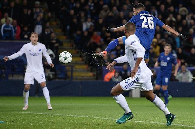 Riyad Mahrez's goal earned Leicester a 1-0 win over FC Copenhagen, extending their 100 percent record in Group G (AFP Photo/Oli Scarff )