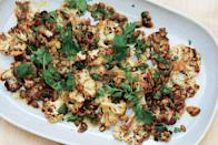"""Earthy-sweet cauliflower makes a great Thanksgiving side, especially when tossed with crunchy pumpkin seeds and drizzled with nutty brown butter. <a href=""""https://www.epicurious.com/recipes/food/views/cauliflower-with-pumpkin-seeds-brown-butter-and-lime?mbid=synd_yahoo_rss"""" rel=""""nofollow noopener"""" target=""""_blank"""" data-ylk=""""slk:See recipe."""" class=""""link rapid-noclick-resp"""">See recipe.</a>"""