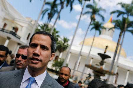 Venezuelan opposition leader Juan Guaido, who many nations have recognized as the country's rightful interim ruler, arrives to a session of Venezuela's National Assembly in Caracas, Venezuela February 13, 2019. REUTERS/Manaure Quintero