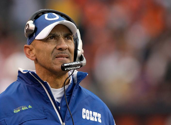 In this photo from 2008, Indianapolis Colts coach Tony Dungy watches from the sideline as his team plays the Cleveland Browns. He is the first African-American head coach to win a Super Bowl and has been a strong advocate for more diversity in coaching hires.