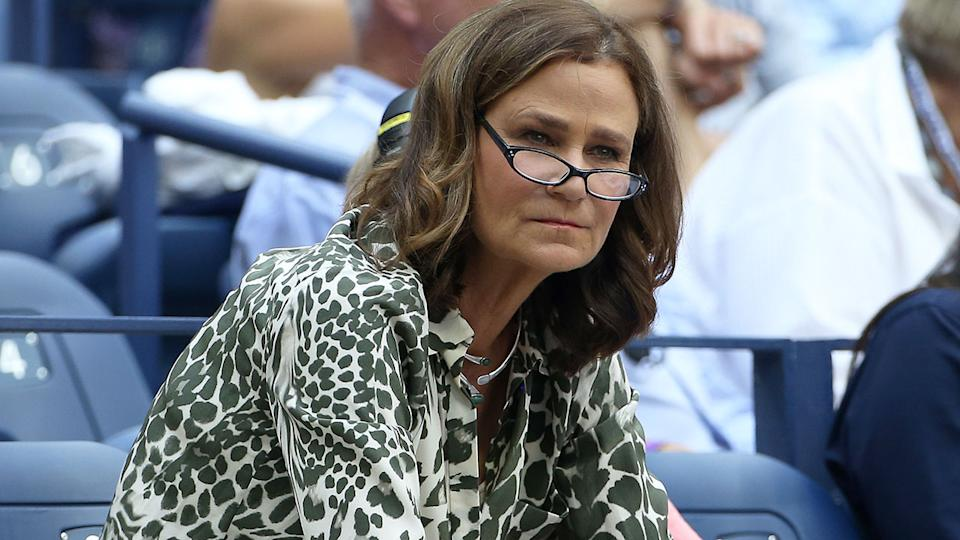 Seen here, tennis great Pam Shriver watches a tennis match from the stands.