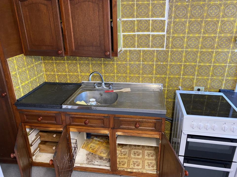 The kitchen of the property in Mitcham, south London (Kwajo Tweneboa/PA)