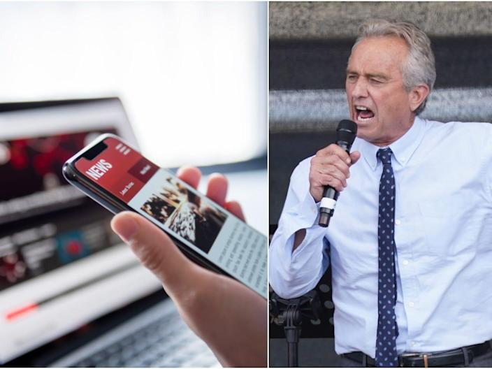 Stock photo of disinformation, left. Robert F. Kennedy Jr, a prominent anti-vaxxer, is pictured right.