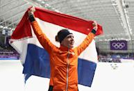 <p>Ireen Wust of The Netherlands celebrates winning the gold medal during the Ladies 1,500m Long Track Speed Skating final on day three of the PyeongChang 2018 Winter Olympic Games at Gangneung Oval on February 12, 2018 in Gangneung, South Korea. (Photo by Ronald Martinez/Getty Images) </p>