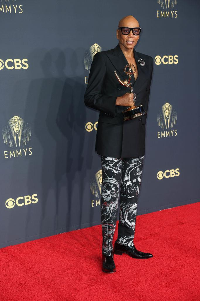 LOS ANGELES, CA - SEPTEMBER 19: RuPaul poses with their Emmy award on the red carpet during the 73rd Annual Emmy Awards taking place at LA Live on Sunday, Sept. 19, 2021 in Los Angeles, CA. (Jay L. Clendenin / Los Angeles Times via Getty Images)