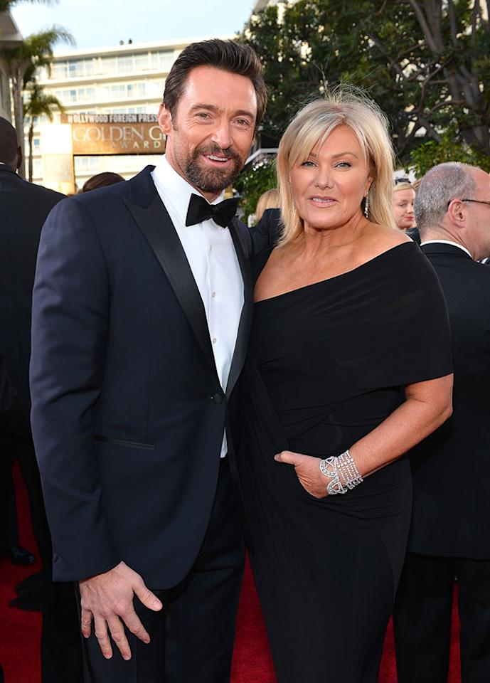 Hugh Jackman and Deborra-Lee Furness arrive at the 70th Annual Golden Globe Awards at the Beverly Hilton in Beverly Hills, CA on January 13, 2013.
