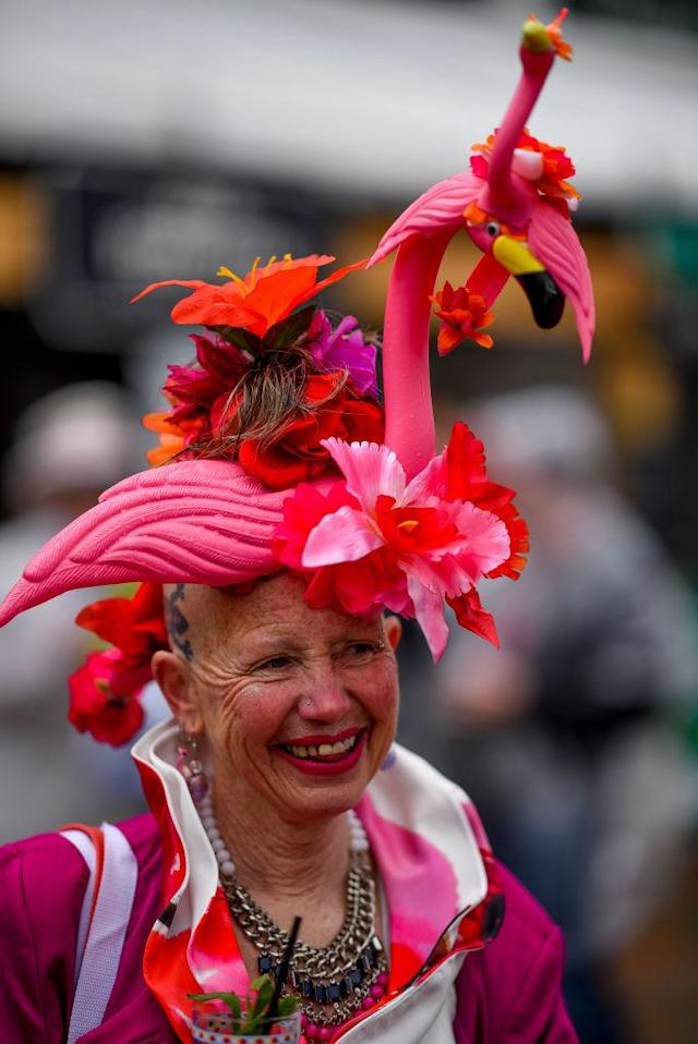 <p>Hats with things on top of them are also of the Derby Day style. In this case, she went with flamingos. (Photo: Scott Serio/Eclipse Sportswire/Getty Images) </p>