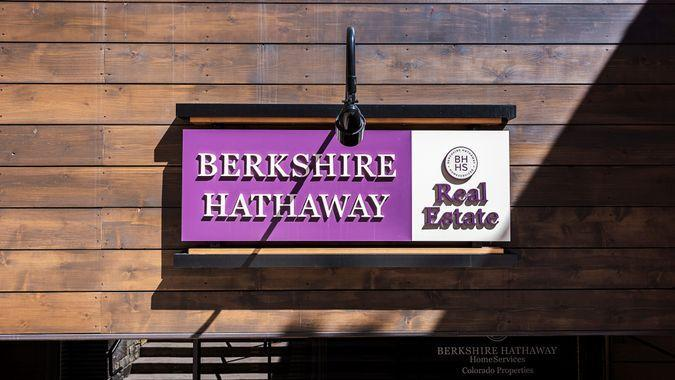 Vail, USA - September 10,2015: A Berkshire Hathaway real estate sign in Vail, Colorado.