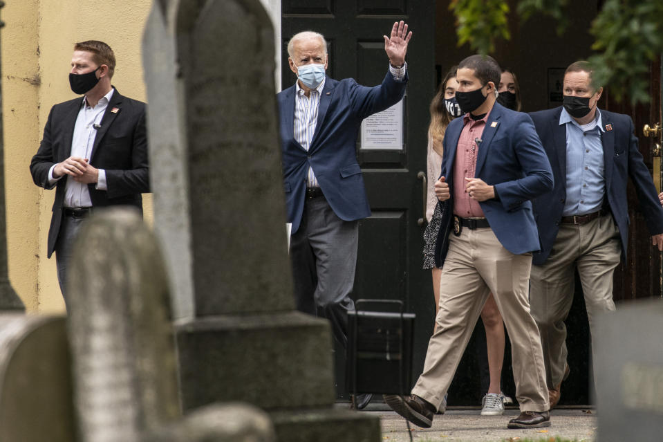 Democratic presidential candidate former Vice President Joe Biden leaves St. Joseph On the Brandywine Roman Catholic Church, Sunday, Oct. 25, 2020, in Wilmington, Del. (AP Photo/Andrew Harnik)