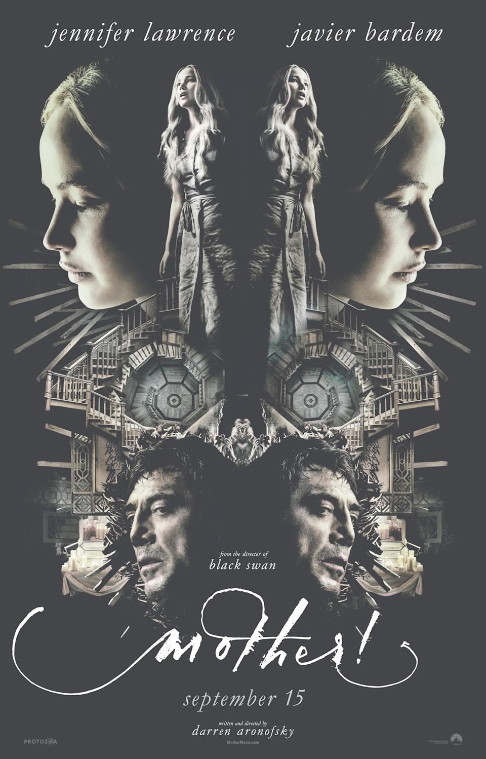 """A secret URL is hidden in the <i>Mother!</i> """"Alpha"""" poster. (courtesy of Paramount Pictures)"""