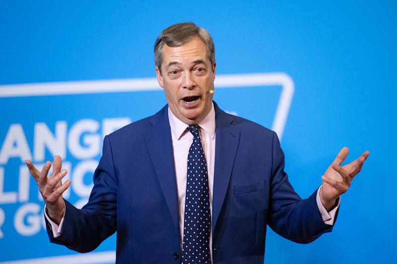 Brexit Party leader Nigel Farage during a press conference at the Emmanuel Centre in London, while on the General Election campaign trail.