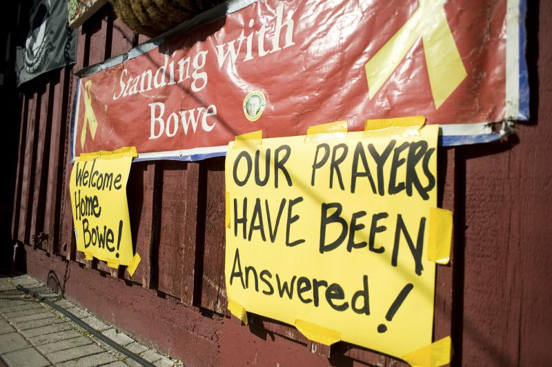 Celebratory signs for released U.S. Army Bowe are displayed outside Zaney's coffeeshop in Hailey