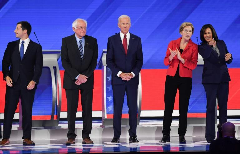 The five top-polling candidates in the Democratic presidential nominations battle: From left, South Bend Mayor Pete Buttigieg; Senator Bernie Sanders; former vice president Joe Biden, Senator Elizabeth Warren; and Senator Kamala Harris